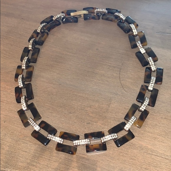 J. Crew Jewelry - J. Crew Tortoise and Rhinestone Link Necklace